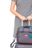 Vrouw met koffers Stock Foto's