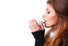 Vrouw met kop van koffie Stock Fotografie