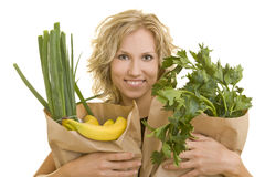 Vrouw met kruidenierswinkels stock afbeelding