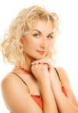 Vrouw met krulhaar Royalty-vrije Stock Foto's