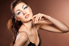 Vrouw met kunstgezicht Royalty-vrije Stock Afbeeldingen