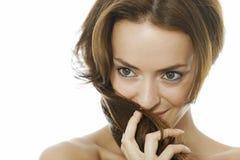 Vrouw met Lang Bruin Haar Royalty-vrije Stock Afbeelding