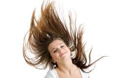 Vrouw met lang bruin haar Stock Foto