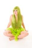Vrouw met lang groen haar Stock Foto