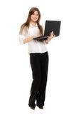 Vrouw met laptop Royalty-vrije Stock Afbeeldingen
