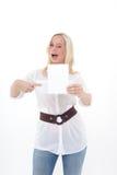 Vrouw met leeg blad Stock Foto
