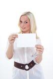 Vrouw met leeg blad Stock Afbeeldingen