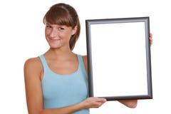 Vrouw met leeg frame royalty-vrije stock fotografie