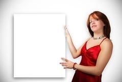 Vrouw met leeg teken Stock Afbeelding