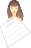 Vrouw met lege pagina Stock Foto