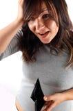 Vrouw met lege portefeuille Stock Foto's