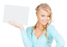 Vrouw met lege raad Stock Foto's