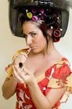 Vrouw met lippenstift Stock Fotografie