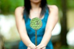 Vrouw met lotusbloembloem stock afbeelding