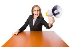 Vrouw met luidspreker op wit wordt geïsoleerd dat Stock Afbeeldingen