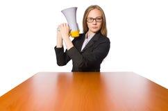 Vrouw met luidspreker op wit wordt geïsoleerd dat Royalty-vrije Stock Foto's