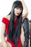 Vrouw met luxuriant gezond lang zwart haar Stock Foto