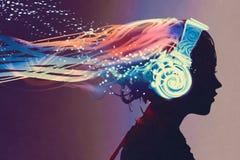Vrouw met magische gloeiende hoofdtelefoons op donkere achtergrond vector illustratie