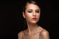 Vrouw met make-up royalty-vrije stock foto's