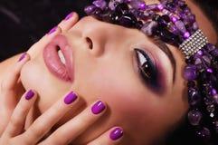 Vrouw met make-up Stock Foto