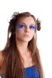 Vrouw met maniermake-up Stock Foto