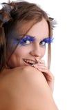 Vrouw met maniermake-up Stock Foto's