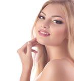 Vrouw met maniermake-up stock fotografie