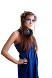 Vrouw met maniermake-up en blauwe wimpers Royalty-vrije Stock Foto
