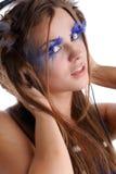 Vrouw met maniermake-up en blauwe wimpers Royalty-vrije Stock Afbeeldingen