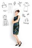 Vrouw met manierpictogrammen Stock Afbeeldingen