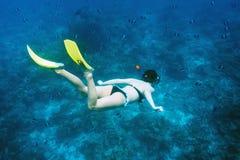 Vrouw met masker het snorkelen Stock Afbeeldingen