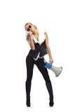 Vrouw met megafone Stock Foto's