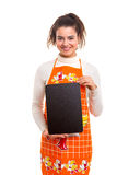 Vrouw met menuraad Stock Foto's