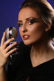 Vrouw met mic Stock Foto's