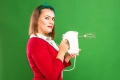 Vrouw met mixer Royalty-vrije Stock Afbeeldingen