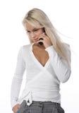 Vrouw met mobiele telefoon Stock Foto