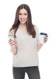 Vrouw met mobiele telefoon en koffie Stock Foto's