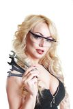 Vrouw met moersleutels Royalty-vrije Stock Afbeeldingen
