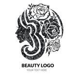 Vrouw met mooi haar en bloemen met grungetextuur royalty-vrije illustratie