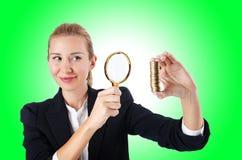 Vrouw met muntstukken Stock Afbeeldingen