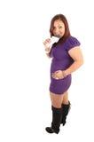 Vrouw met naakte chocolade. Stock Foto