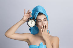 Vrouw met nachtroom Stock Foto