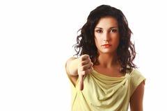 Vrouw met neer duim Stock Foto