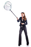 Vrouw met netto op wit stock fotografie