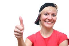 Vrouw met o.k. vinger Stock Foto's