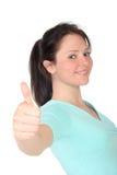 Vrouw met omhoog Duim Stock Foto