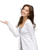 Vrouw met omhoog palm Stock Afbeeldingen