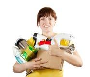 Vrouw met onhandig van huishoudapparaten Stock Foto