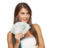 Vrouw met ons dollargeld Stock Foto's