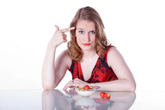 Vrouw met ontbijtgraangewas Stock Afbeeldingen